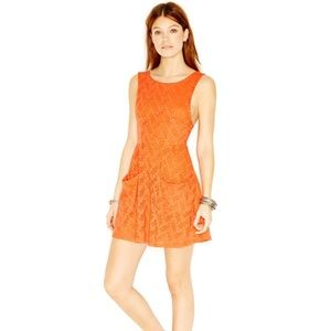 Free People Lace Cutout Mini Dress Orange Medium
